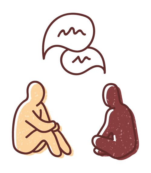 Graphic illustration of two relaxed human figures sitting on the floor deep in conversation.