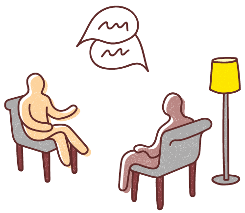 Learning the customer's world. Graphic illustration of two human figures sitting on comfortable chairs in a domestic setting with a standing lamp, looking at each other and conversing.