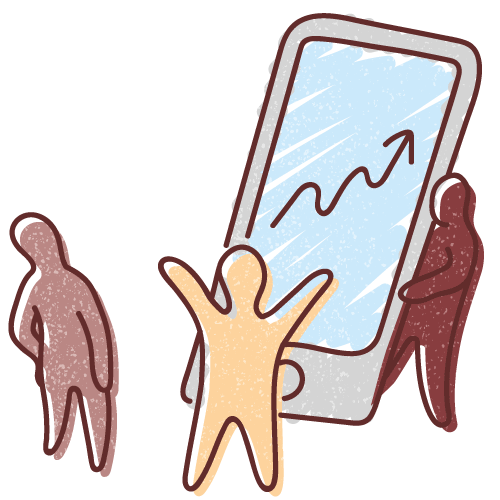 Graphic illustration of two miniaturised human figures viewing a mobile telephone displaying a data chart, while a third figure emerges from behind the telephone..
