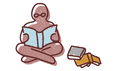 Graphic illustration of a human figure sitting cross-legged reading next to a pile of books and resources.