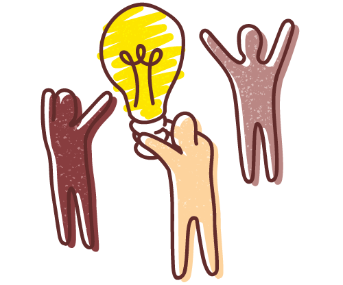 Growing your culture - graphic illustration of three human figures standing around a lit-up light-bulb.