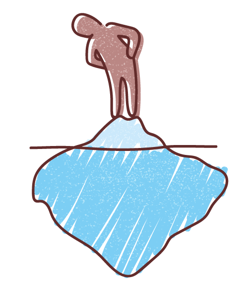 Graphic illustration of a human figure standing on an iceberg and peering through the water to see the bigger part of the iceberg underwater.