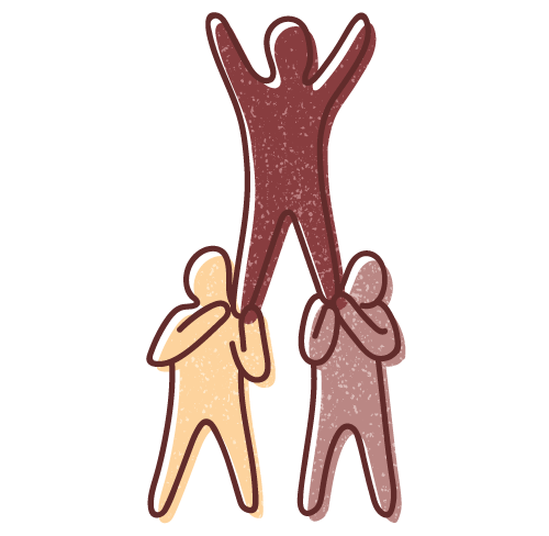 Graphic illustration of Social Context Mission showing two human figures supporting a third to form a human pyramid.