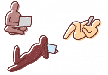 Graphic illustration of three human figures sitting or reclining comfortably while viewing content on electronic communications devices.